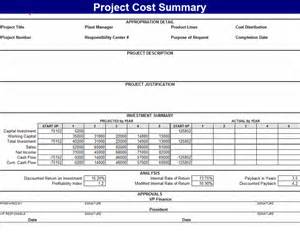 project cost summary template for excel 2007 or newer