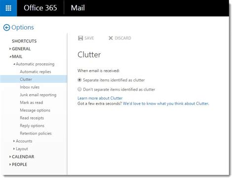 Office 365 Mail Options Office 365 Clutter Will Help You Your Mail