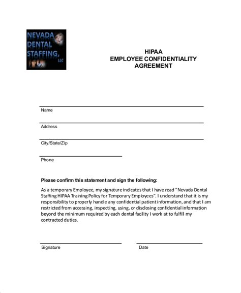 hipaa confidentiality agreement template 15 employee confidentiality agreement templates free