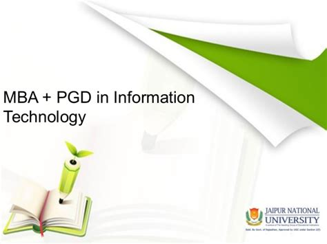 Mba In Tech by Mba Pgd Information Technology Management