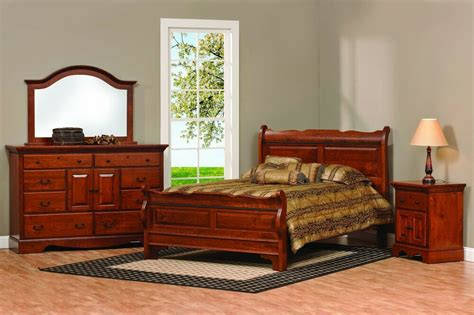 Solid Wood Bedroom Sets For Sale by Amish Sleigh Raised Panel Bedroom Set Solid Wood Furniture
