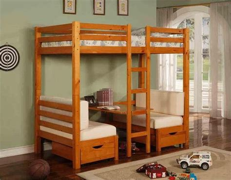 Bunk Bed With Table Underneath Table Convertible Bunk Bed In Honey Pine Finish Loft Bed With Desk Underneath