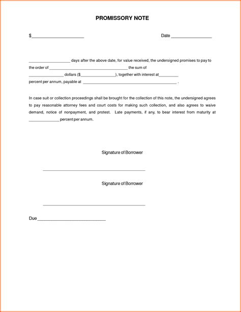unsecured promissory note template promissory note form exles vesnak