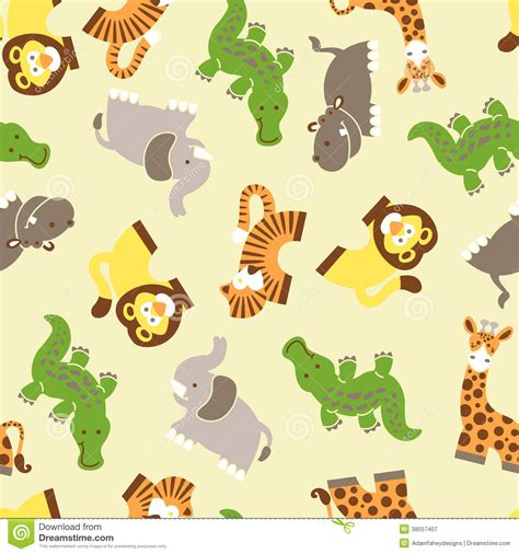 seamless pattern animals cute wild animals seamless pattern stock vector image