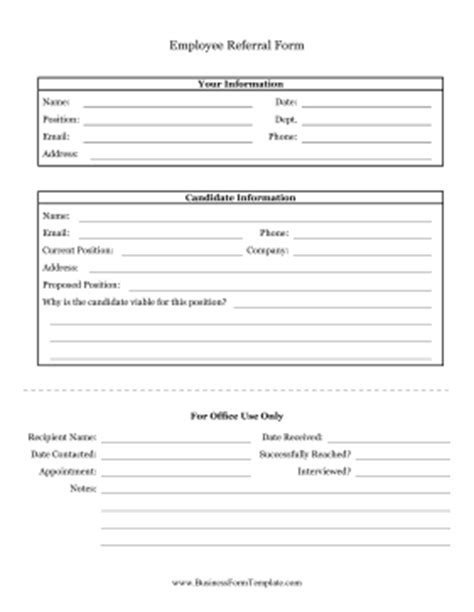 Employee Referral Form Template Referral Form Template Free