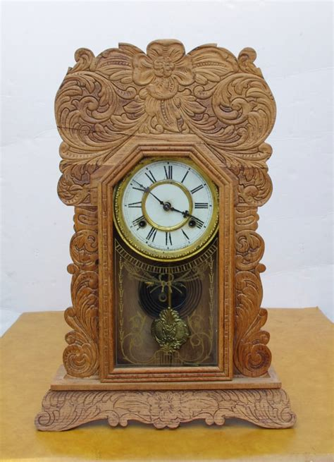 Cottage Clocks by Antique Waterbury Cottage Mantel Clock Circa 1900 Ebay
