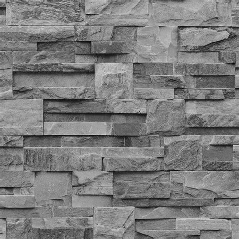 grey effect wallpaper muriva bluff slate stone block brick effect wallpaper grey