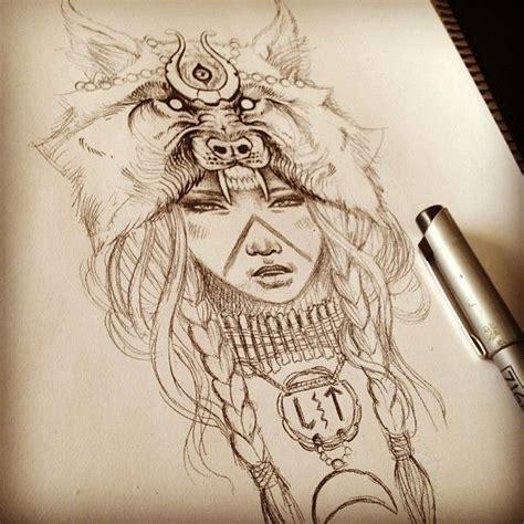 tattoo nubian queen wolf headdress pinteres