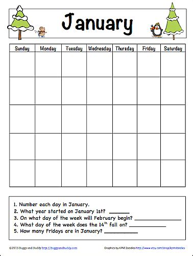 printable january worksheets january learning calendar for kids free printable