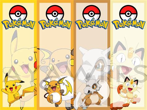 digital download printable bookmarks pokemon