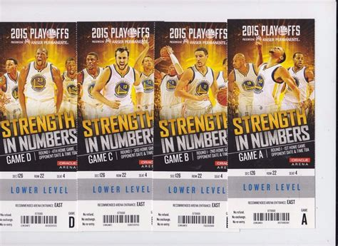 2015 golden state warriors playoffs season ticket stub 1st