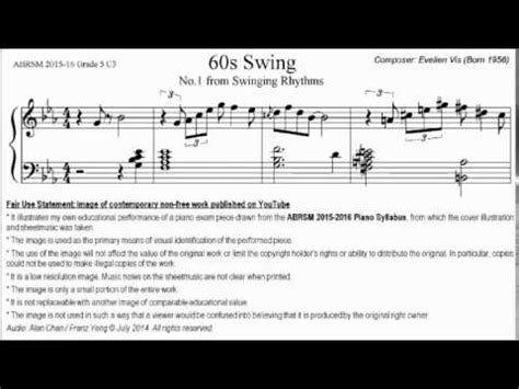 60s Swing Sheet abrsm piano 2015 2016 grade 5 c 3 c3 evelien vis 60s swing