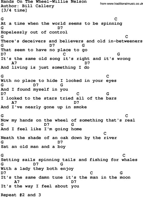 lyrics by willie nelson country on the wheel willie nelson lyrics and
