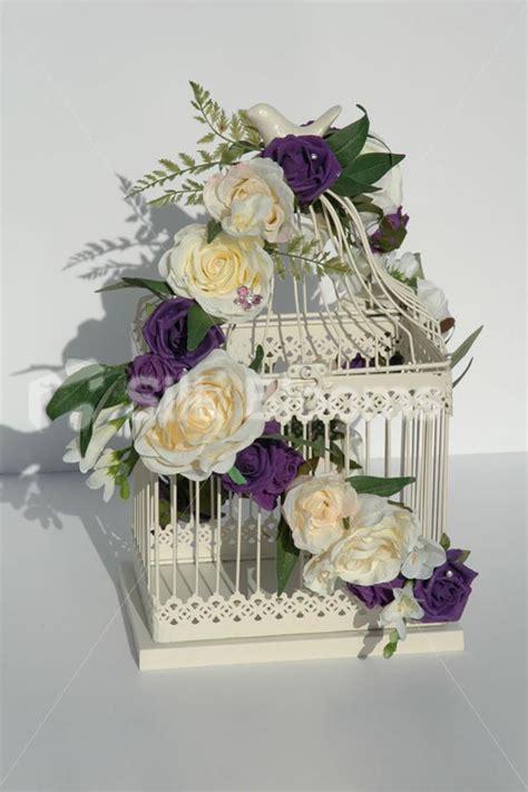 ivory purple shabby chic bird cage wedding table