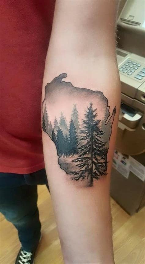 wisconsin tattoo with woods scene id 233 er pinterest