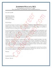 cover letter for hospital administration healthcare administrator cover letter sle