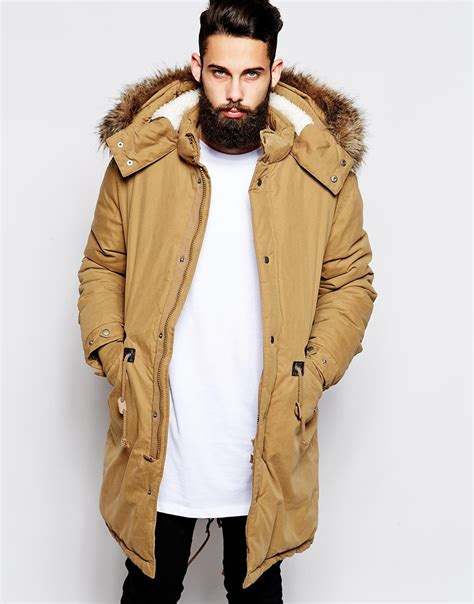 Asos Parka by Asos Fishtail Parka With Thinsulate In Brown For Lyst