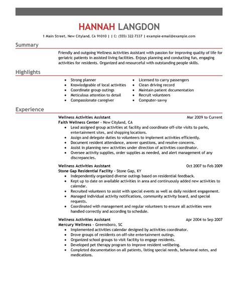 Best Wellness Activities Assistant Resume Exle Livecareer Activities Resume Template
