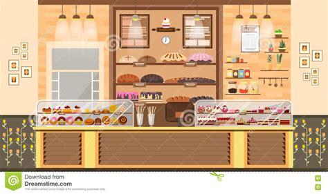 illustration interior of bake shop bake sale business of