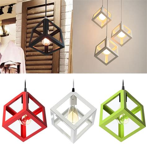Cube Ceiling Light Modern E27 Metal Cube Ceiling Pendant Light Chandelier Fixtures L Bar Hotel Restaurant Alex Nld