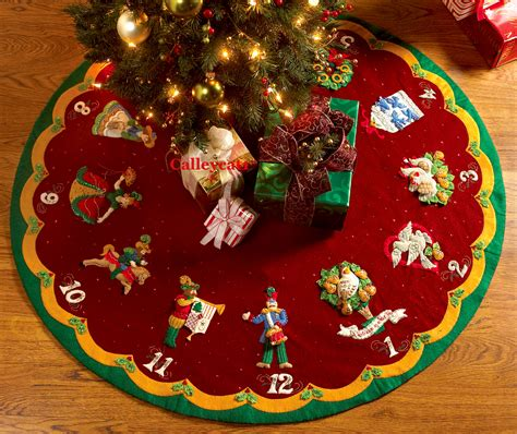 pattern for felt christmas tree skirt partridge in a pear tree 43 quot bucilla felt tree skirt kit
