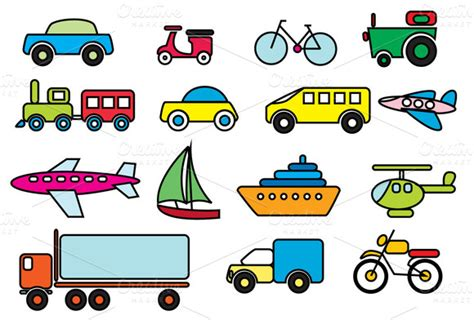 Alat Mewarnai Set Creative Children Spe030 transportation colour vector icons on creative market