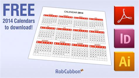 Free Download 2014 Calendar In Pdf Illustrator Ai Indesign Indd Format Adobe Education Adobe Calendar Template