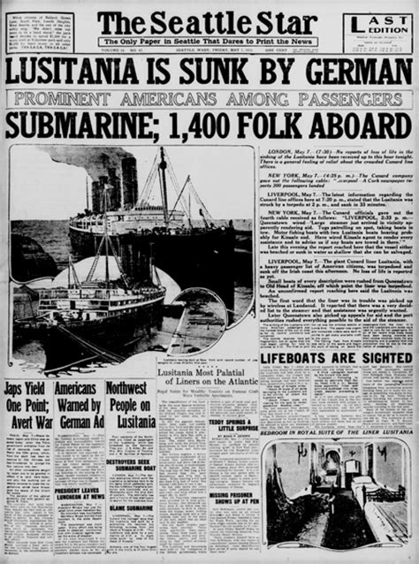 Sinking Of The Lusitania Newspaper Article today in history lusitania lost tps barat primary source nexus