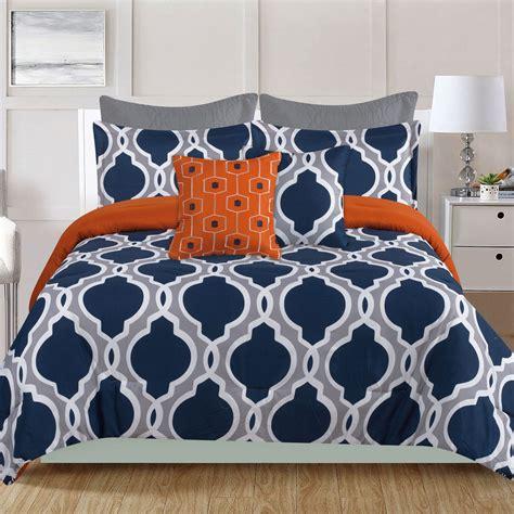 Orange And Navy Bedding by Crest Home Westbury 7 King Comforter Bedding
