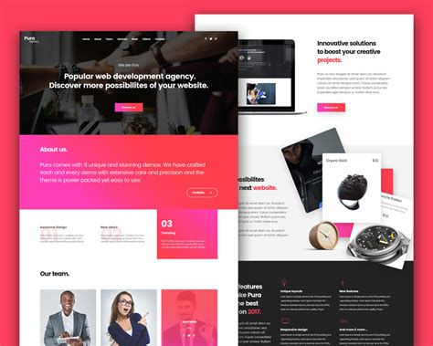 photoshop web design layout download agency services landing page template free psd download