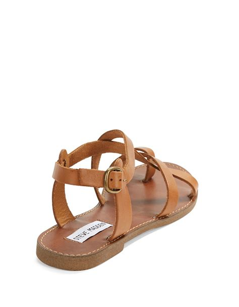 brown s sandals steve madden agathist leather strappy sandals in brown lyst