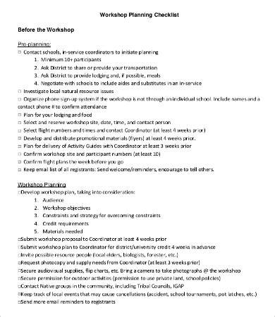 Workshop Planning Checklist Templates 7 Free Word Pdf Documents Download Free Premium Workshop Planning Template