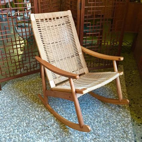 hans wegner style rope rocking chair mid century hans wegner style woven rope cord rocking