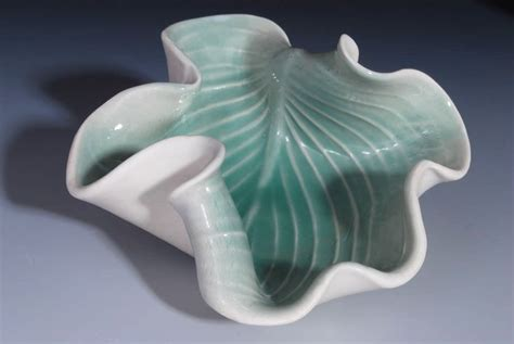 Clay Handmade - hosta plate handmade pottery home decorating fan