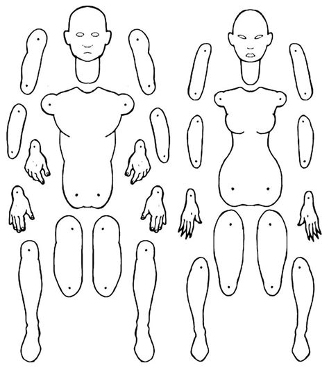 male and female jointed paper doll templates by