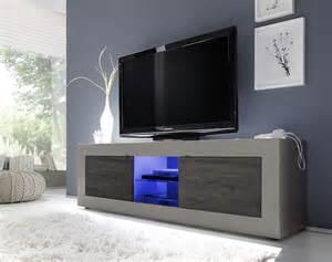 Meuble TV couleur taupe et weng moderne avec option clairage LED FELINO 2
