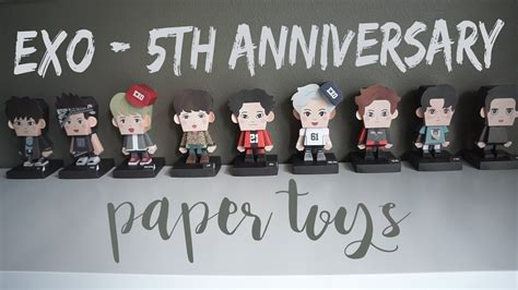 exo anniversary unboxing exo 5th anniversary paper toys youtube