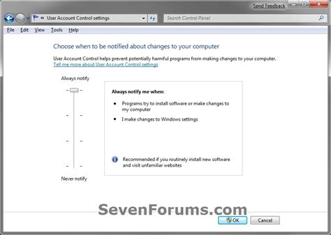 default setter c user account control uac change notification settings