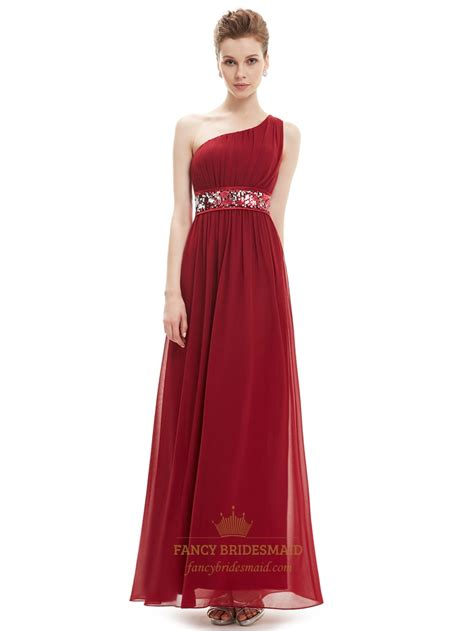 Dress With Sequin burgundy one shoulder chiffon bridesmaid dresses with