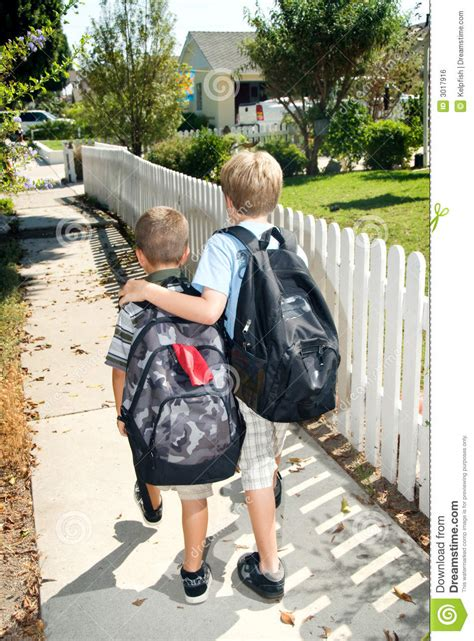 brothers walking home from school stock photo image 3017916