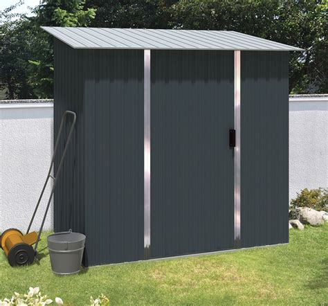 pent metal shed five measuring 1 82 x 1 07m