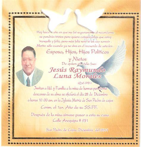 tarjeta aniversario de difuntos tarjetas de invitaci 243 n a misa de difuntos para imprimir