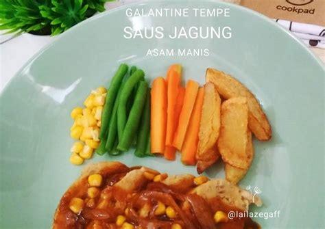 resep galantine tempe saus jagung asam manis oleh