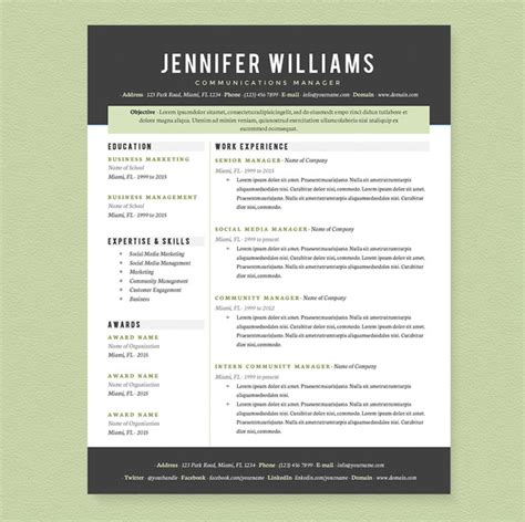 Resume Exles For Creative Professionals Professional Resume Template Pkg Resume Templates On Creative Market