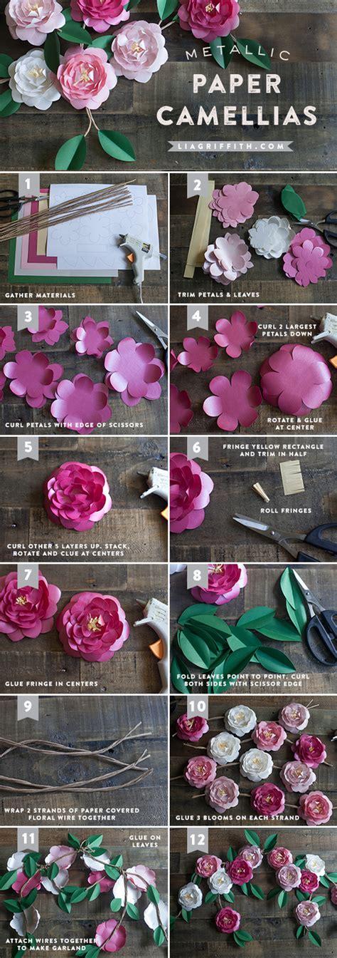 Paper Camellia Flower Tutorial | diy metallic paper camellias