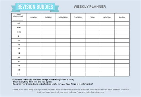 revision template creating your revision planner