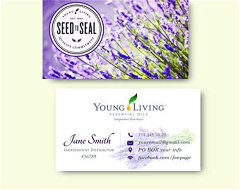 printable young living business cards young living cards etsy