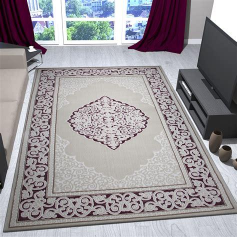 teppich klassisch rosa beige creme bord 252 re mit relief und - Teppich Beige Rosa