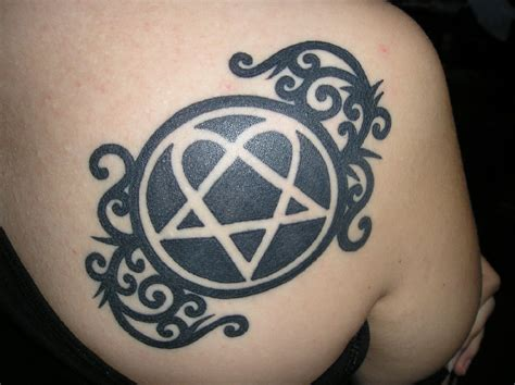 heartagram tattoo heartagram on back