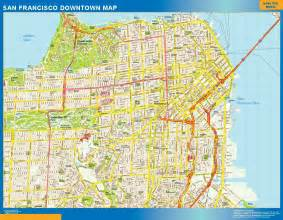 san francisco map of downtown usa city maps wall maps of the world part 2